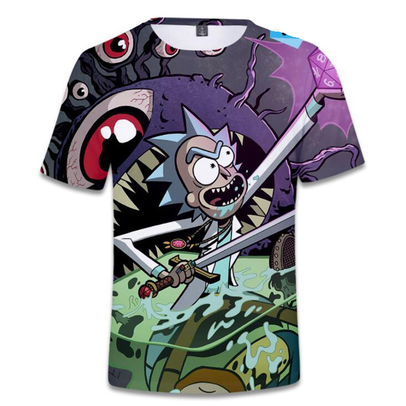 Hip Hop Fashion Brand Clothing Rick and Morty 3D   T     Shirt   Casual Short Sleeve Men's   T  -  Shirts   Anime Cool rick y morty Graphic Tees