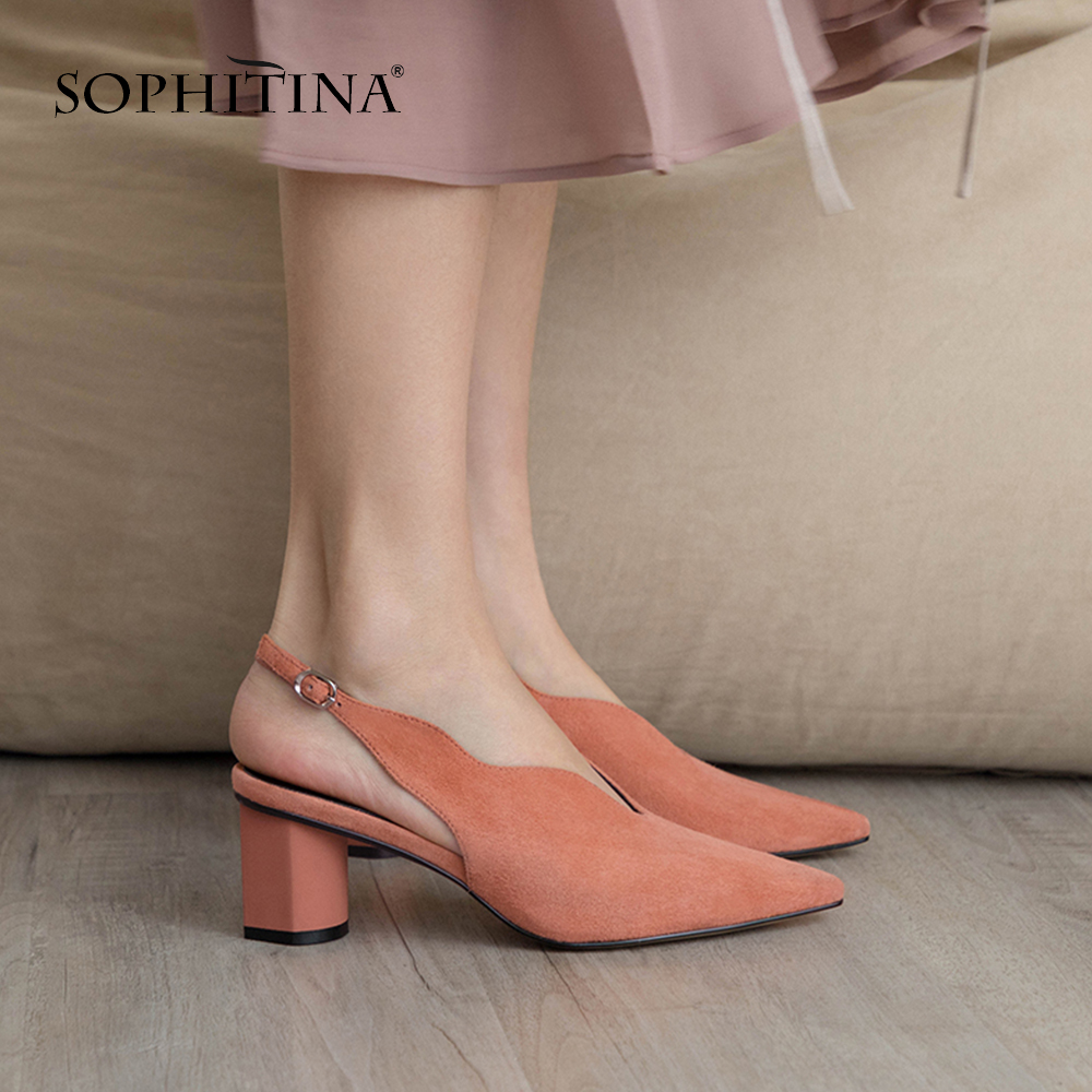 SOPHITINA New Fashion Buckle Strap Pumps Comfortable Kid Suede Sexy Square Toe Shoes Spring Handmade Women