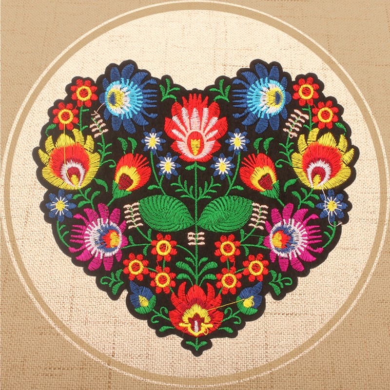 Online Shop Heart Pattern Love Flower Embroidery Patches Clothing  Decorative Decals 20x18cm Large Patch for Costume Dress Winter Jacket  2314297d0cfd