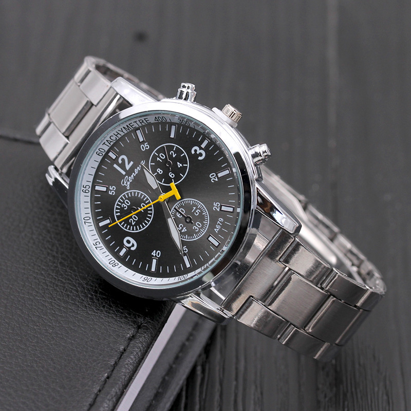 Geneva three-eyed six-needle steel belt watch couple quartz watch men's watch neutral men's watch Business