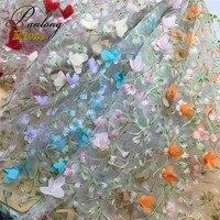 1 Stoczni 130 cm Szerokość Eugen Przędzy Drukowanie 3D Stereo Mesh Haft Kwiaty Koronki Szmatką kobiet Dzieci