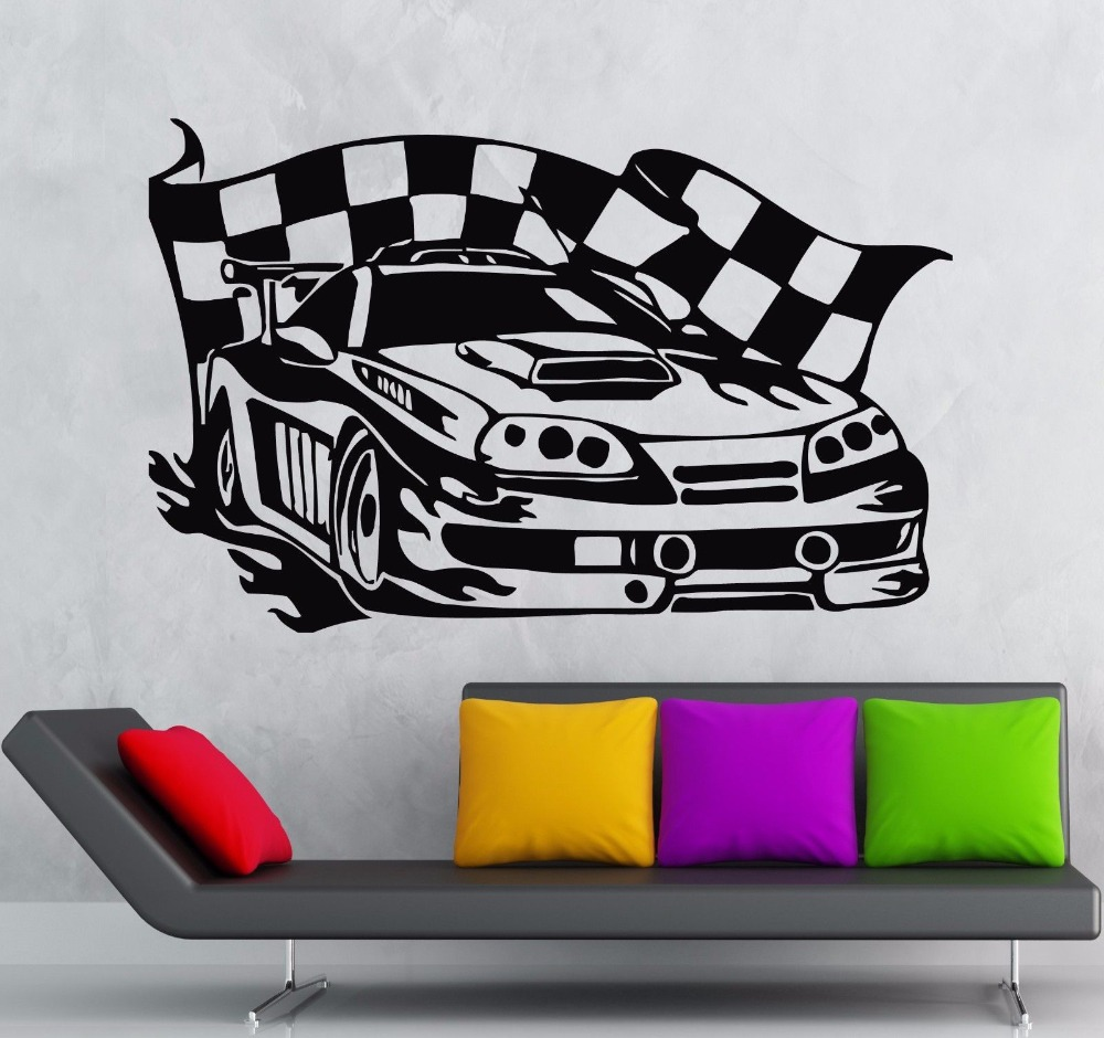 Racing Car Wall Sticker Sports Car Race Rally Coolest Garage Wall Sticker Boys Room Bedroom Car Wall Decal Home Decorative Decor-in Wall Stickers from Home ...  sc 1 st  AliExpress.com : car wall decal - www.pureclipart.com