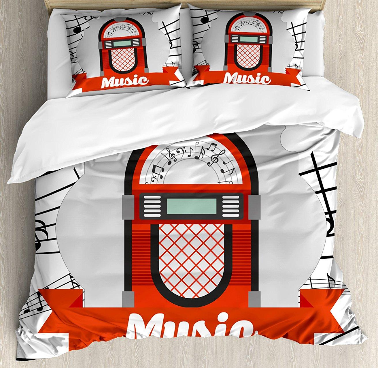 Jukebox постельное белье, Винтаж музыка радиоблок с изображением героя мультфильма, комплекты с Notes работа принт, 4 комплект постельного белья