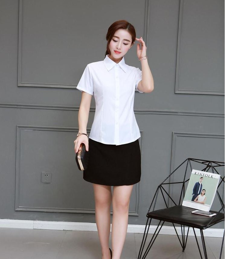a53758d86 2018 امرأة البلوزات القطن قصيرة الأكمام أزياء السيدات قمم مكتب الملابس  الإناث قميص المرأة الصيف الأبيض Blusas