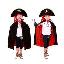 Traje de Halloween sombrero de pirata Piratas del Caribe pirata capitán sombrero  negro traje accesorio sombreros de fiesta 7228cce85bf