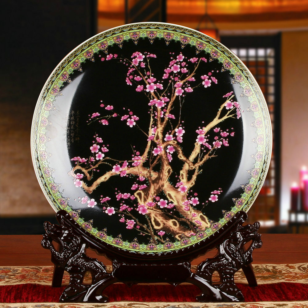 10 Inch Chinese Style Classic Plum Blossom Pattern Ceramic