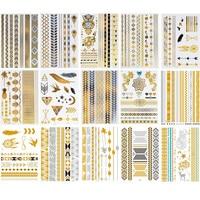 16 различных образцов Металл золото Фольга горячий серебряный Водонепроницаемый татуировки StickerTattoo наклейки Для женщин поддельные татуиро