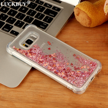 LUCKBUY Liquid Glitter Sand Star Mobile Phone Cases For Samsung Galaxy S8 S8Plus S7 Edge Note8 Heart Dynamic Plastic Back Fundas