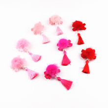 2pcs/lot Chinese Bow Knot Hair Clips Ball Tassel Hairpin Kids girl Festival drama New year barette child hair accessories