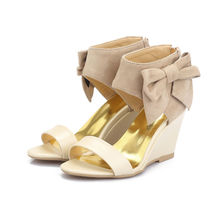 Shoes Women Sandals High-Heel Sandals Wedge Ladies Shoes Bowknot Flock Zipper Sexy Summer Party Dress High Heeled Ladies Shoes