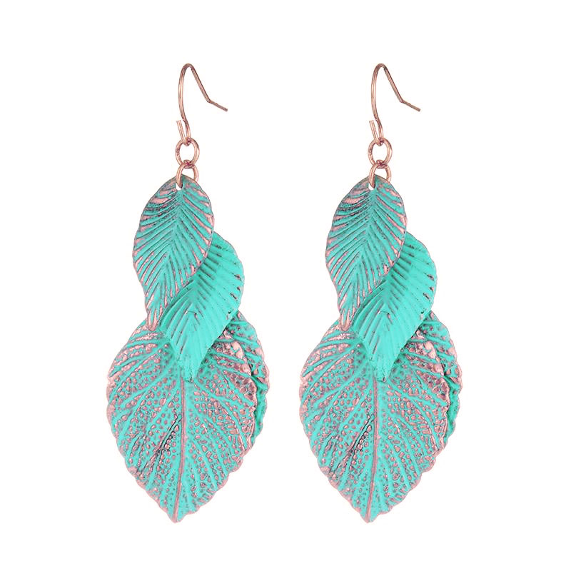 2016 Newest Design Rose Gold Plated Blue Leaf font b Earrings b font For Woman Bohemian