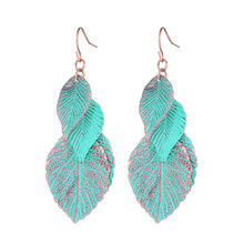 2016 Newest Design Rose Gold Plated Blue Leaf Earrings For Woman Bohemian Multi Layer Long Earings Fashion Jewelry Gift