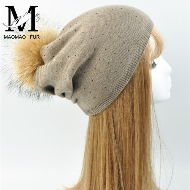 3dcd96caf4f Women Wool Real Fur Pompom Hat Female Winter 2017 Knitted Beanies Raccoon Fur  Pom Pom Hat Cashmere Natural Fur Bobble Beanie Hat