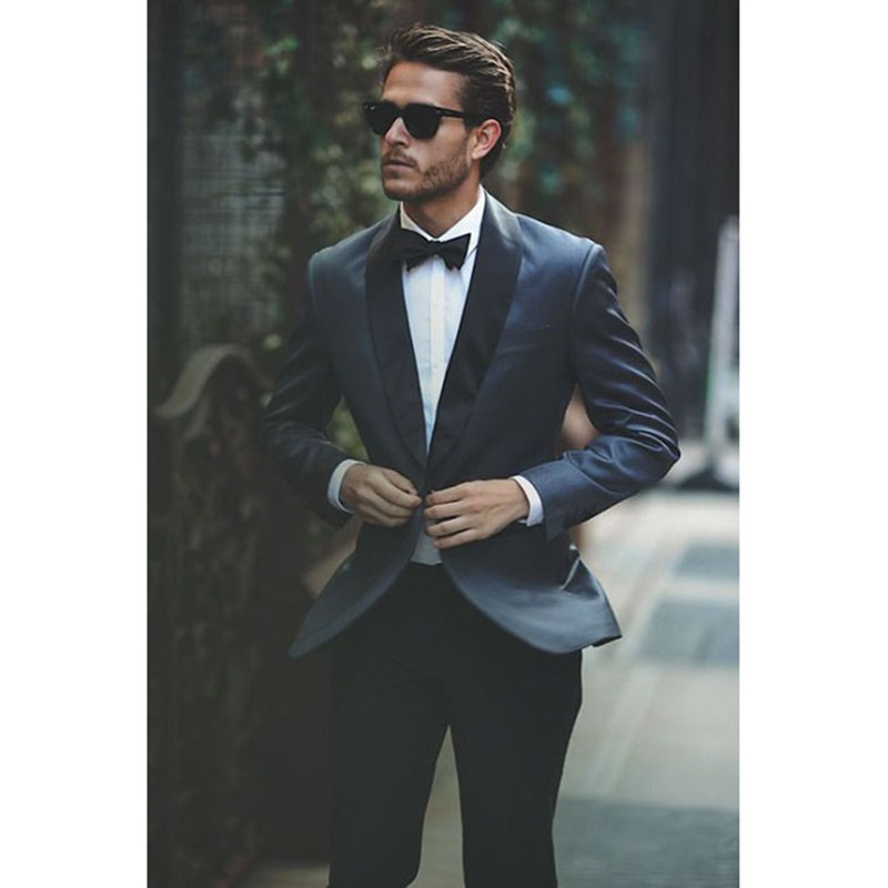 Blue dress man shawl collar Groom <font><b>Wedding</b></font> Dress Dance formal <font><b>men</b></font> <font><b>suits</b></font> <font><b>2018</b></font> best <font><b>men's</b></font> fashion cloth <font><b>suit</b></font> <font><b>terno</b></font> masculino image