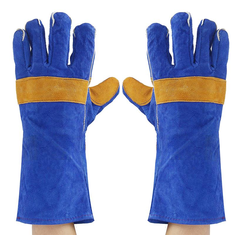 35cm Heavy Duty Welding Gloves Leather Cowhide Protect Welder Hands Workplace Safety Gloves Anti-heat gloves new 32cm xl heavy duty welding gloves stoves pu leather cowhide protect welder hands workplace safety glove