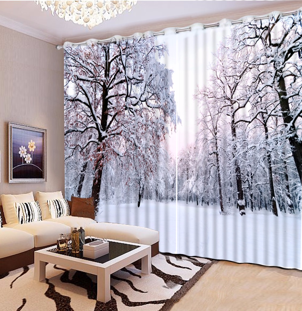 3d curtains Snowy forest window curtain living room Home Decoration Luxury blackout curtain