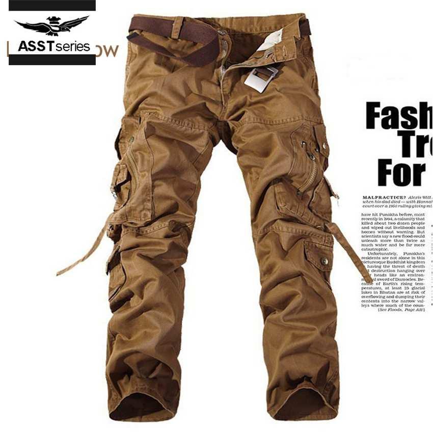 Мужчины Брюки-Карго армия зеленый легко мыть мужской диких свободные мужская одежда марка брюки multi-карман военные длинные брюки хлопок 205