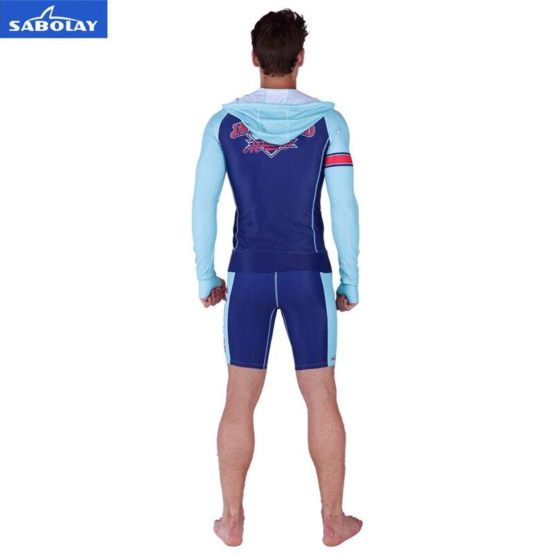 SABOLAY Men cardigan elasticity Rash Guard Suit UV Protection Long Sleeves Windsurf Surfing Tops Short pants Swimsuit Swimwear