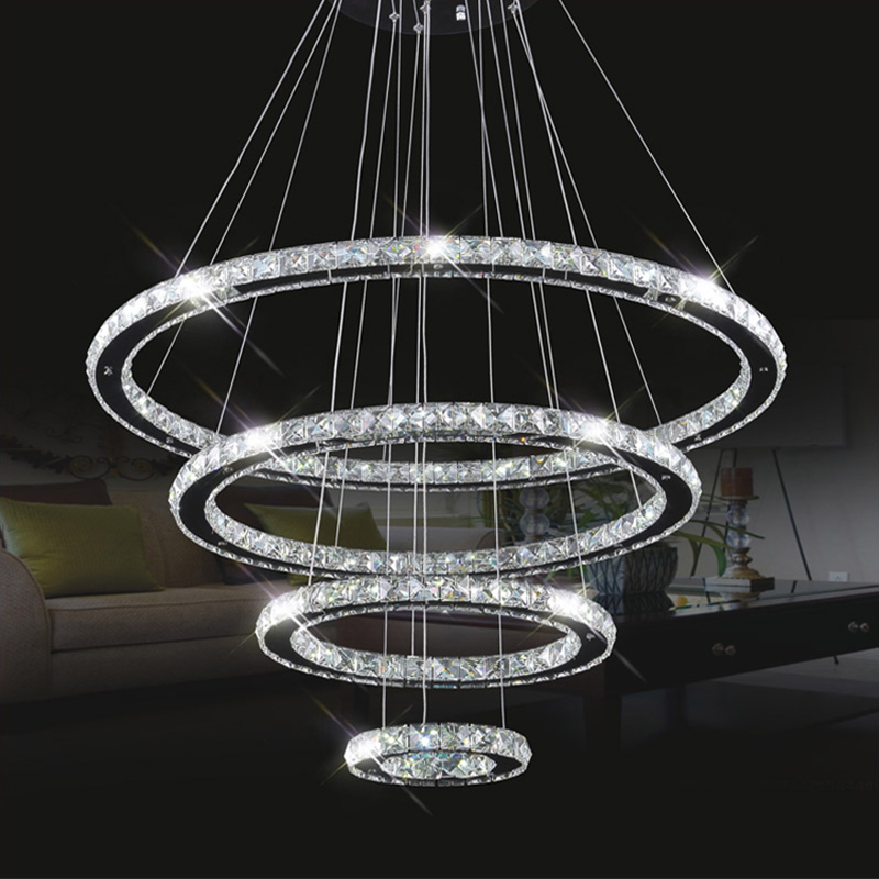 modern lustre led crystal chandelier circle dining table led crystal household large luminaire. Black Bedroom Furniture Sets. Home Design Ideas