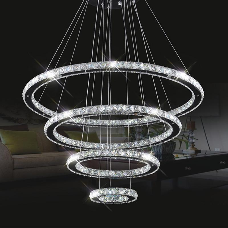 modern lustre led crystal chandelier circle dining table led crystal household large luminaire. Black Bedroom Furniture Sets. Home Design Ideas