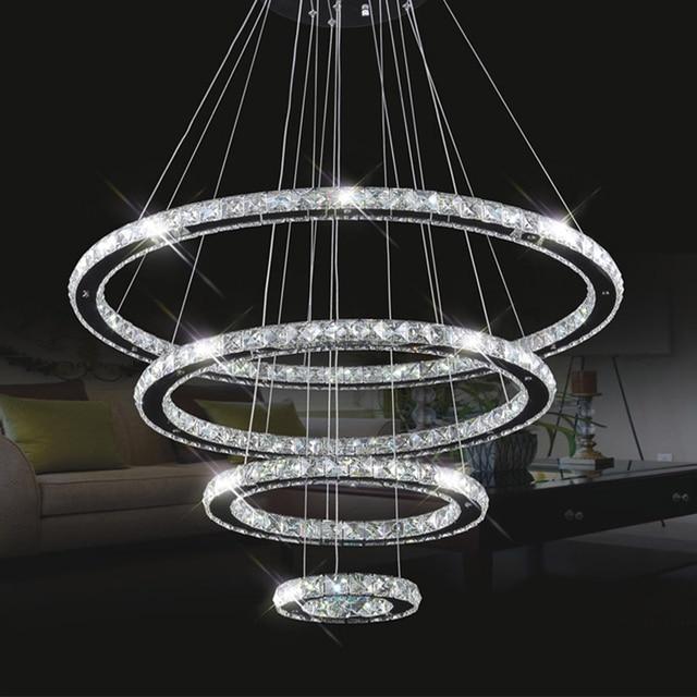 Moderne Grote Eettafel.Moderne Glans Led Kristallen Kroonluchter Cirkel Eettafel Led