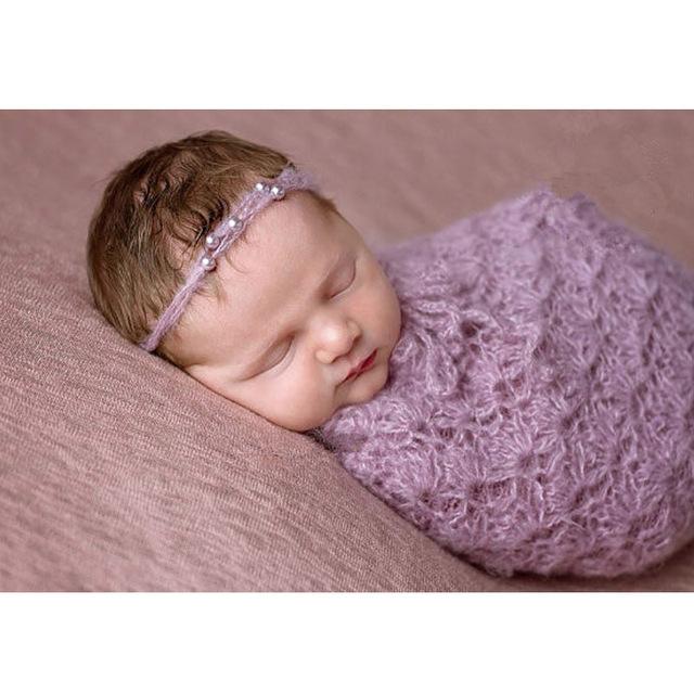 Mohair headband recém-nascidos swaddle fotografia prop handmade crochet knit newborn cocoon props acessórios fotografie