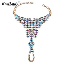 Ladyfirst Luxury Crystal Beads Flowers Multicolor Boho Trendy Foot Jewelry Chain Leg Statement Accessory Anklets Bracelets 3695