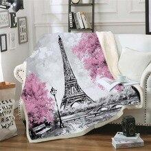 פריז מגדל לזרוק שמיכת על המיטה רומנטי מכתבים שרפה צמר שמיכת לב קטיפה ספה משובץ 1pc
