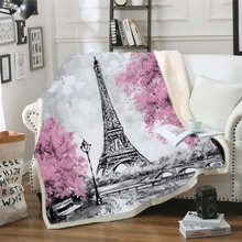 Paris Tower Throw Blanket on The Bed Romantic Letters Sherpa Fleece Blanket Heart Plush Sofa Plaid 1pc