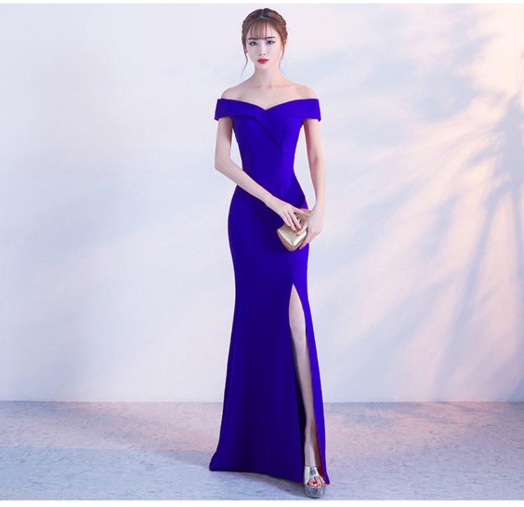Off Shoulder Royal Blue Evening Dress Girls Wedding Party Dress Prom Gown Dubai Long Zipper Bridal Dresses Slit Robe De Soiree(China)