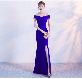 0227d52badd Королевское синее вечернее платье с открытыми плечами для девочек ...