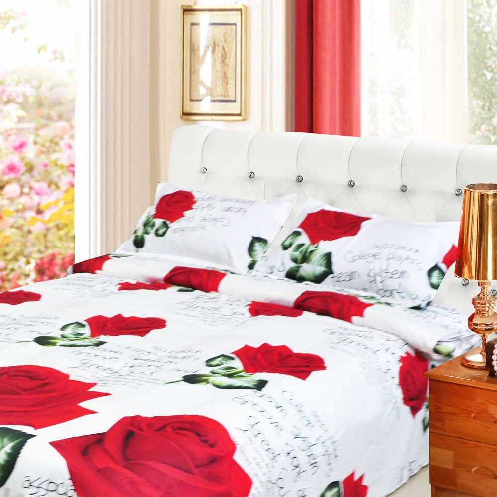 Hot 4pcs 3D Printed Bedding Set Bedclothes Red Rose in Full Bloom Queen Size Duvet Cover+Bed Sheet+2 PillowcasesHot 4pcs 3D Printed Bedding Set Bedclothes Red Rose in Full Bloom Queen Size Duvet Cover+Bed Sheet+2 Pillowcases