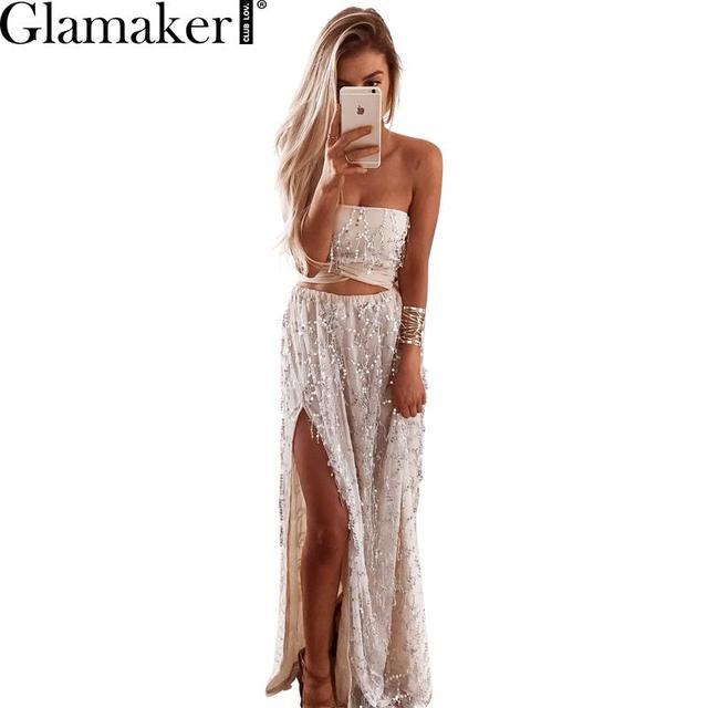 Glamaker Elegant off shoulder sequin dress Women party bling tube top slim long  dress Sexy side slipt summer clubwear vestidos e8523124d0cf