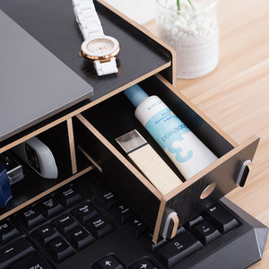 Image 5 - Mini Computer Monitor Base PC Screen Storage Rack with Drawer Desktop Organizer for Stationary/Notebook/Keyboard Laptop Stand