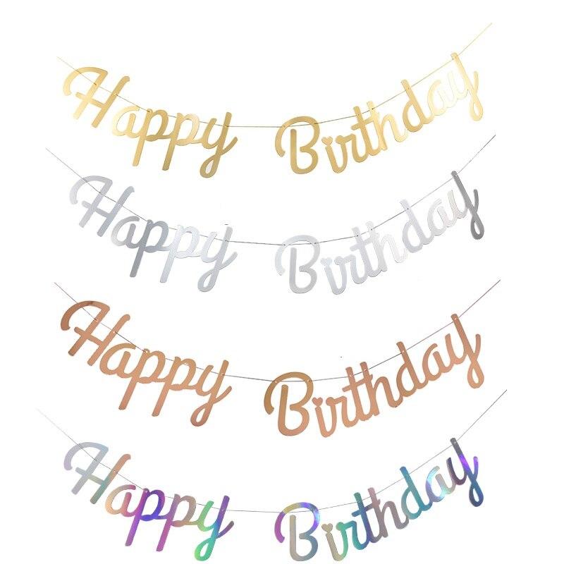 Happy Birthday Banner Garland Rose Gold Silver Laser Bunting Hanging Flag Banner Babyshower Birthday Sign Party Decoration