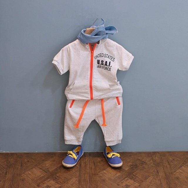 [Baby Suit] child clothing set t-shirt and pants suit boy girls chidren clothes kids trousers fashion sport style good letter