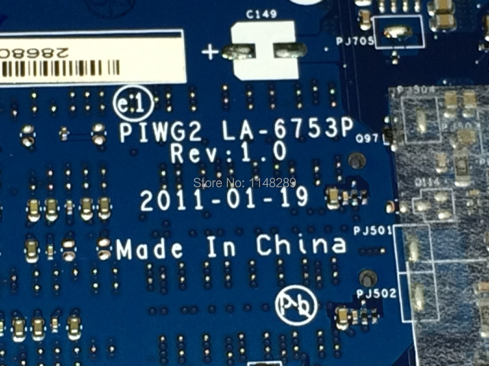FREE SHIPPING HOT SELLING IN RUSSIA PIWG2 La-6753P REV : 1.0 laptop motherboard Suitable for Lenovo G570 Notebook C
