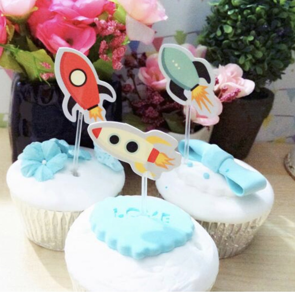 wholesale 30 PCS Outer Space Rocket Cupcake Topper Cake ...