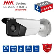 Hik DS-2CD2T43G0-I5 POE IP Camera 4MP V5.3.3 50m IR Security Bullet outdoor CCTV Camera WDR 4mm Lens English version tera free shipping dahua hac hfw1400b cctv camera 4mp hdcvi ir bullet camera ip67 without logo
