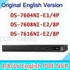 English 6MP NVR 4CH 8CH 16CH POE HD DS 7604NI E1 4P DS 7608NI E2 8P