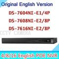 Inglês 6MP 4CH 8CH 16CH NVR POE HD DS-7604NI-E1/4 P DS-7608NI-E2/8 P DS-7616NI-E2/8 P ds 7604 7608 7616 ds-7604 ds-7616 ds-7608