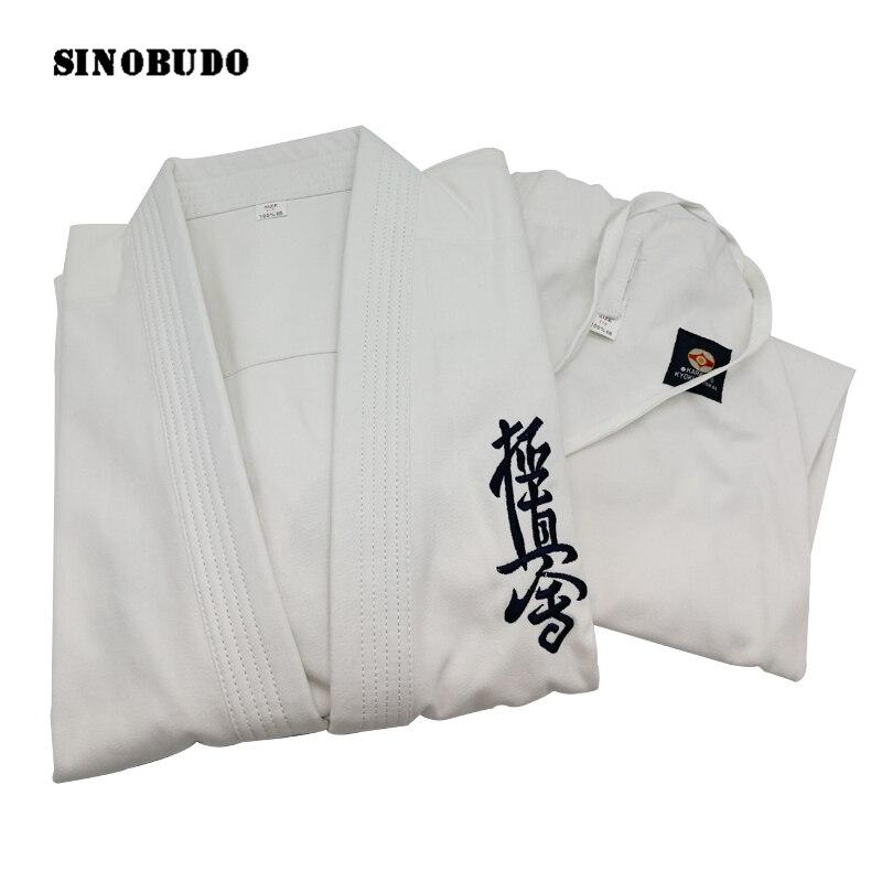 Haute qualité Kyokushinkai dogi Dobok 100% coton toile karaté uniforme Kimono Gi tissu pour enfants adulte SINOBUDO, ceinture blanche gratuite
