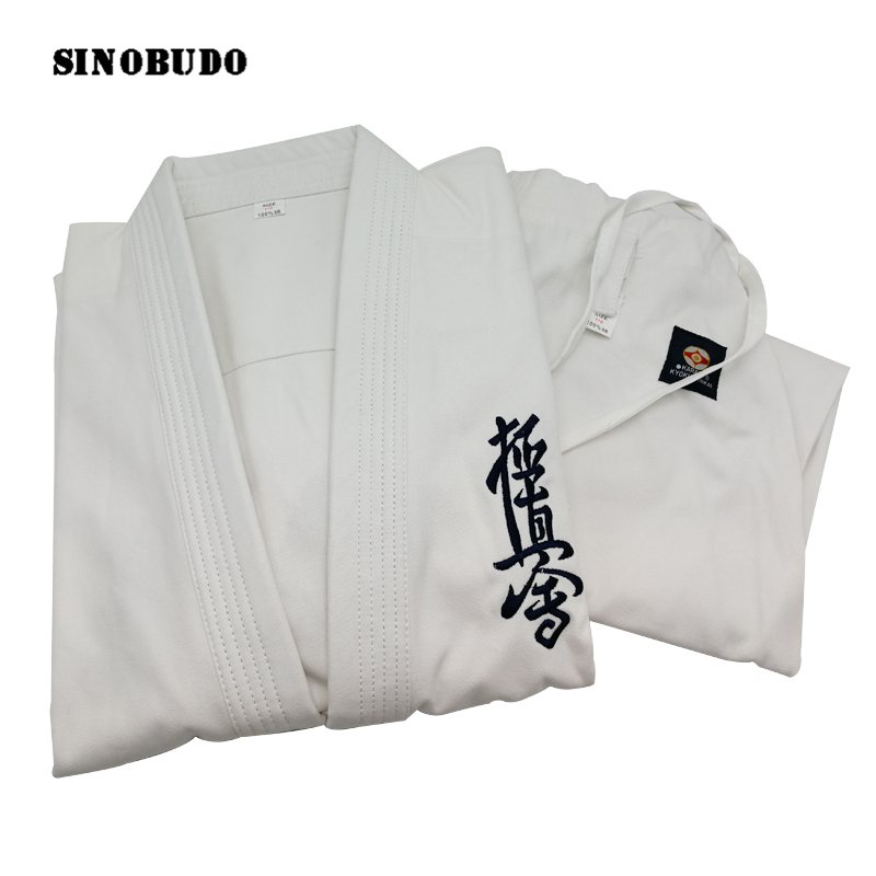 High Quality Kyokushinkai Dogi Dobok 100% Cotton Canvas Kyokushin Karate Uniform Kimono Gi Cloth For Kids Adult SINOBUDO