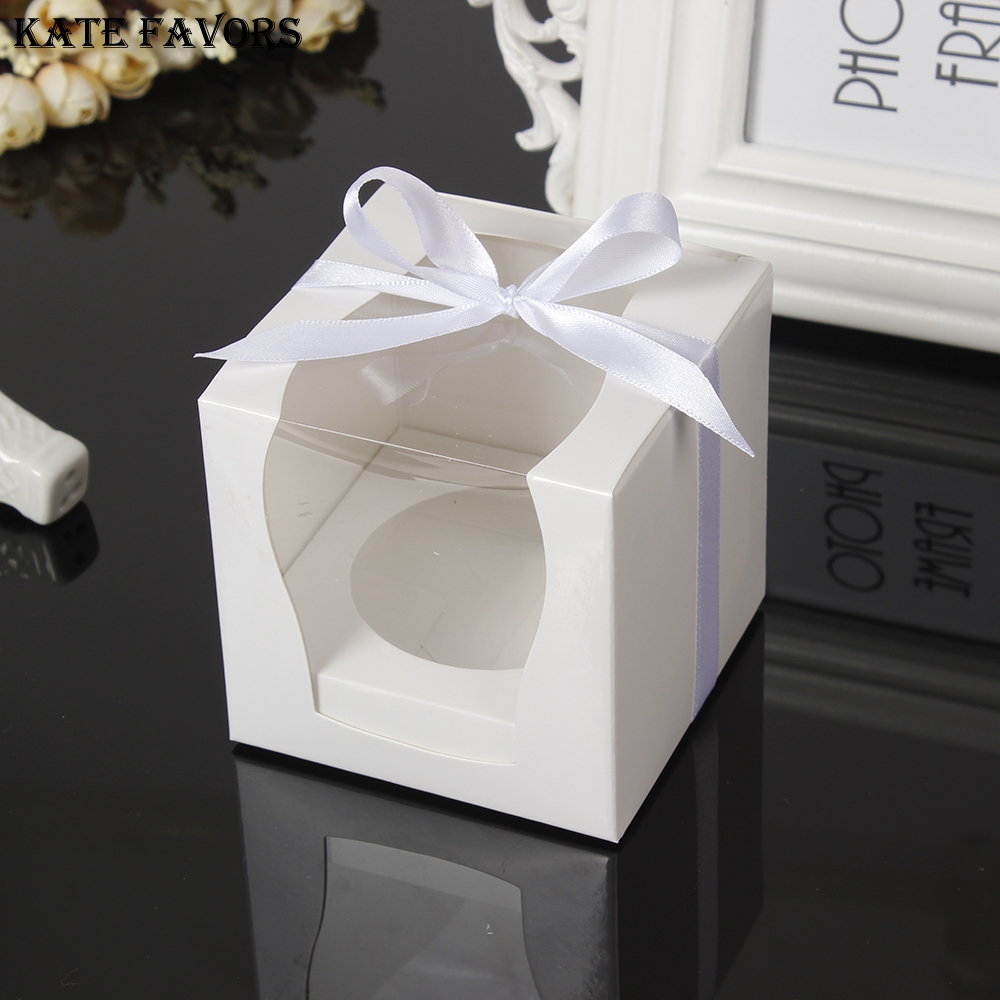 White Paper Single Cupcake Box With Pvc Window Tow Muffin Box Party
