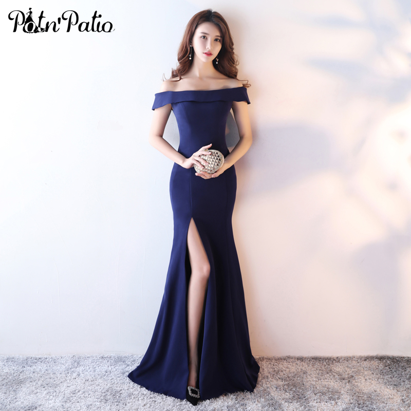 Aliexpress Buy Boat Neck Satin Mermaid Dress For Evening Party