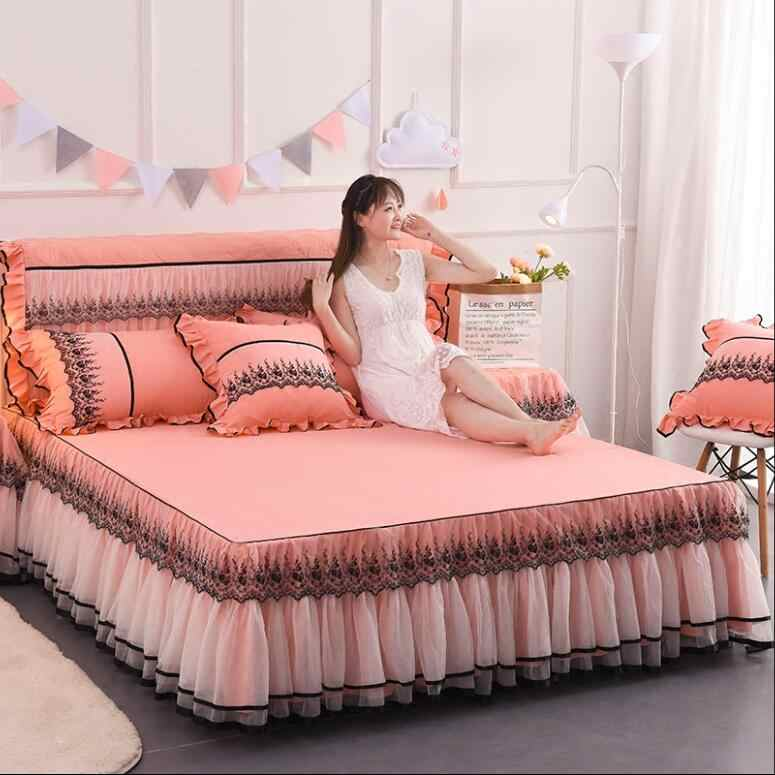 Rose Red Pink Lace Bedding Bed Skirt Pillowcases 1/3pcs Wedding Gift Princess Bedspread Bed sheet 1.5/1.8/2.0 M Mattress Cover