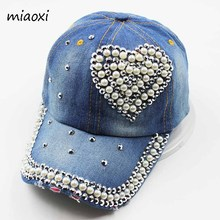 miaoxi New Fashion An Crown Rhinestone Caps Women Baseball Cap Denim Love Hat Sun Summer Snapback Women's Hats Gift