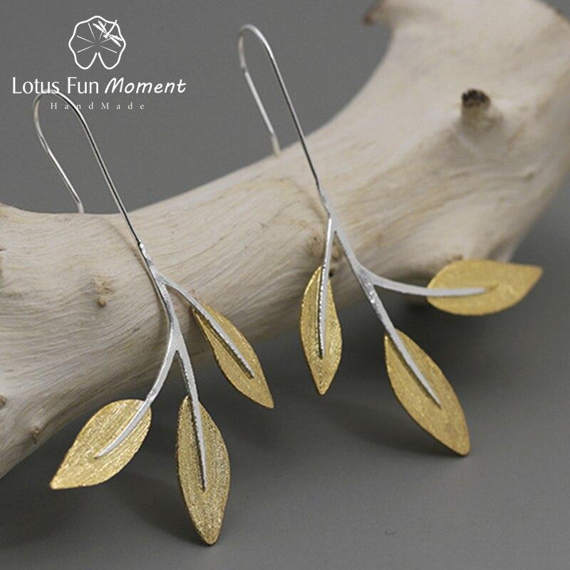 Lotus Plaisir Moment Réel 925 Sterling Argent Creative Designer bijoux fins Minimaliste Conception Feuilles Balancent boucles d'oreilles pour femmes