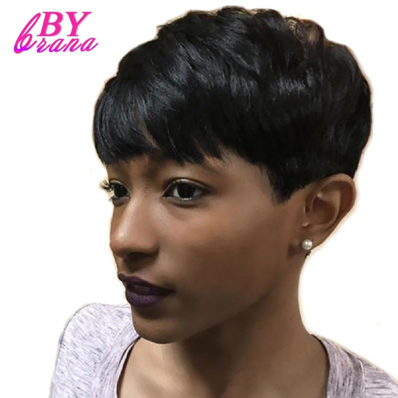 Bybrana Black Pendek Lurus Remy Brazil rambut Lembut Rasa Rambut - Rambut manusia (untuk hitam)