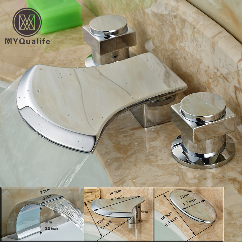 Luxury Bathroom Sink Waterfall Mixer Faucet Dual Handle Widespread Brass Hot and Cold Tap for Washbasin Chrome Finished bathroom golden dual handle taps washbasin sink faucets hot and cold water mixer faucet